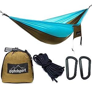 gipfelsport Hängematte - Outdoor Reisehängematte mit Aufhängeset, 2xSeile, Oliv/hellblau