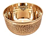 IndianArtVilla Embossed Flower Design Brass Bowl, Serving Indian Food, Tableware, 220 ML