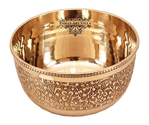 IndianArtVilla Brass Embossed Flower Design Bowl 220 ML - Serving Decoration Tableware Home Hotel