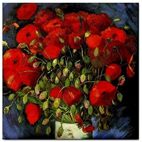 Vase with Red Poppies By Vincent Van Gogh Tile Trivet