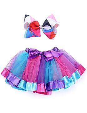 Alead Falda de tutú Arcoiris de Tul en Capas para niñas pequeñas Vestir con Arcos de pelos de Colores