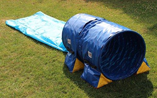 Callieway® Dog Agility Sacktunnel Fun&Slip/Agilitysacktunnel mit 60cmØ für Agility Training/Welpentraining inklusive 2X Stützsandsäcke
