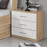 Nachttisch RINOA221 3 Farben wählbar Eiche Sonoma / Hochglanz weiß