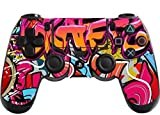 Morbuy PS4 Vinyle Skin autocollant Sticker Decal de Protection pour Sony Playstation 4 PS4 Slim PS4 Pro Dualshock Manette x 1 (Graffiti Rose)