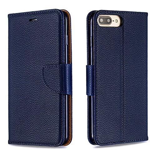 Bear Village® iPhone 7 Plus/iPhone 8 Plus Hülle, Hochwertige Magnetischen Brieftasche Leder Hülle Tasche mit Handschlaufe und Kartenfach für Apple iPhone 7 Plus/iPhone 8 Plus, Blau -