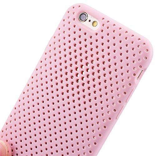 iPhone 6 / iPhone 6S UltraSlim Hülle, Yokata Tpu Weich Transparent Schutzhülle Silikon Gitter Case Rutschfest Cover - Schwarz Rosa