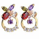 YAZILIND Elegant 14K Gold Filled Flower Colorful Cubic Zirconia Hollow Design Stud Earrings for Women Gift Idea