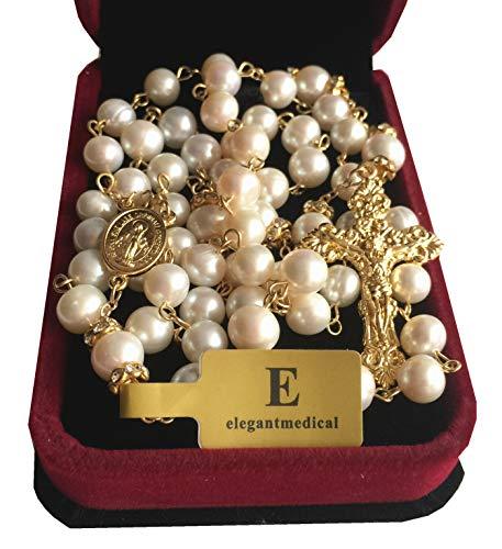 Eleganantmedical Handgefertigte Perlenkette, 8 mm, Echte Perlen, Halskette, Rosenkranz & Kreuz Kruzifix-Box, katholisches Geschenk für Damen