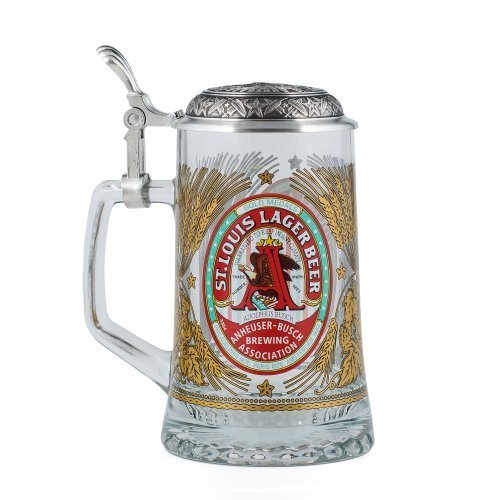 anheuser-busch-collectors-glass-stein-with-pewter-lid-limited-edition-4-liter-by-m-cornell-importers