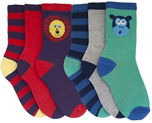 RJM Boys Striped and Animal Design Socks