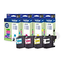 Brother LC-221BK/LC-221C/LC-221M/LC-221Y Inkjet Cartridge, Black/Cyan/Magenta/Yellow, Multi-Pack, Standard Yield, Includes 4 x Inkjet Cartridges, Brother Genuine Supplies