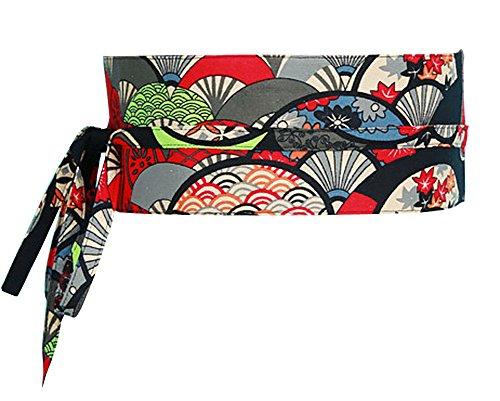 Black Temptation Kimono Obi Yukata Obi Cinturón Cintura Patrón Harajuku [Q]