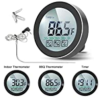 Digital Thermometer, Uzone 3-Functions Meat Thermometer with Probe/Indoor Outdoor Thermometer/with Alarm & Timer Food Thermometer Magnetic & Backlight & Touch Screen for Home Kitchen Cooking BBQ