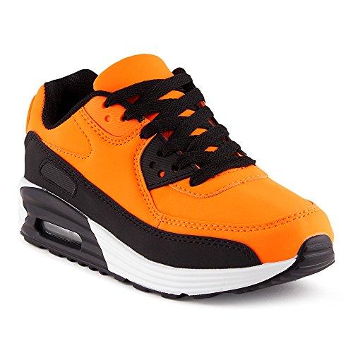 FiveSix Herren Damen Sportschuhe Dämpfung Sneaker Laufschuhe Orange/Schwarz-W EU 39
