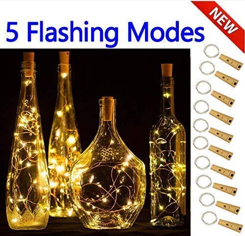 5 Dimmbare Licht-Effekte Intelligente Weinflaschen-10er Pack 20 LED Silber-Kupferdraht Fairy String Batteriebetrieben Lichterketten,für DIY, Party, Dekoration, Weihnachten,Hochzeiten(Warmweiß)