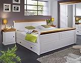 Gästebett Bett Ehebett Doppelbett Landhausstil Kiefer massiv, Farbe:weiß / honigfarbig;Größe:140 x 200 cm