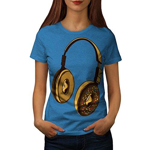 Headset Krapfen Musik Musik Damen S-2XL T-shirt | Wellcoda Royal Blue