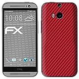 atFolix Skin kompatibel mit HTC One M8 / M8s, Designfolie Sticker (FX-Carbon-Red), Carbon-Struktur/Carbon-Folie