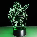 3D LED Nachtlicht Weihnachtsmann Illusion Lampe Schlummerlicht Deko Lampen Nachttischlampen 7-Farben ändern Touch Tisch Schreibtisch Lampe mit Acryl Platte & ABS Base & USB Ladegerät