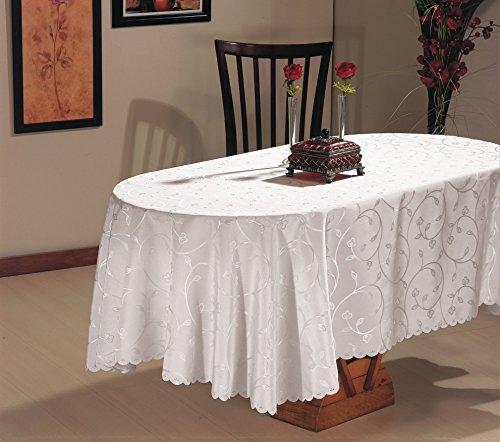 beytug Nappe blanche imperméable motif Jacquard Extra large 160 x 320 cm
