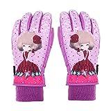 Eastlion Karikatur Muster Mädchen Skihandschuhe Süß und Reizend Windundurchlässige Wasserdichte Warme Handschuhe,Stil 1 Lila,S
