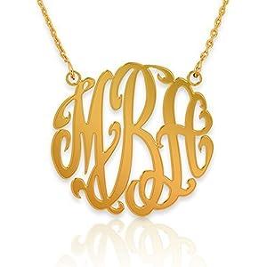Monogeramm Halskette 18K vergoldet 925 Sterling Silber -Personalisierte Monogramm Halskette