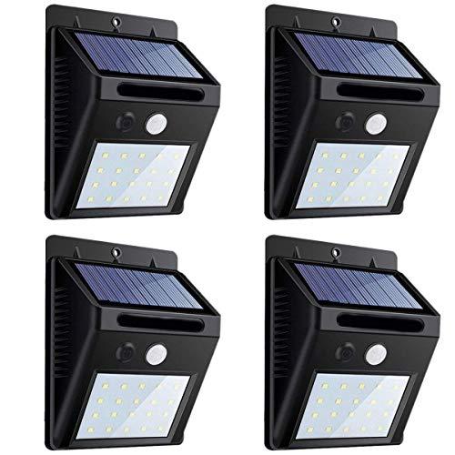 Nrpfell Super Helles LED Sonnenenergie Bewegungs Melder Licht,Kabellos Wasserdichtes Sicherheits Licht,Geeignet Für Garten,Innenhof,Mit Automatischer Aktion An/Aus (20 LED,4 Packungen) -