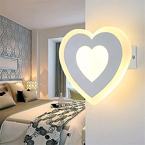 SADASD Lampe Murale à Led chaud Heart-Shaped chevet chambre à coucher simple et moderne lumière Mur Salon Chambre Enfants Protection des yeux Wall Lamp 20 * 17cm, lumière chaude 12W