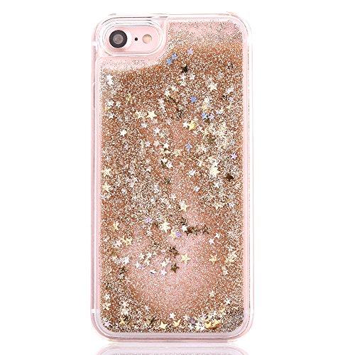 iPhone 6S Plus Hülle,Mo-Beauty® Schutzhülle iPhone 6 Plus Hülle Transparent Hardcase,Dynamisch Treibsand Flüssige Fließend Wasser Schutzhülle 3D Kreative Liquid Bling Hülle Case Glitzer Glitter Shiny  Gold,Gold star