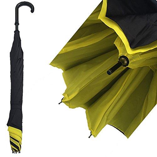 DOBO® Ombrello con meccanismo di apertura riverso invertito utilissimo in caso di pioggia rovesciato (Interno GIALLO - Esterno NERO)