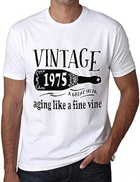 1975 Aging Like a Fine Wine Hombre Camiseta Blanco Regalo De Cumpleaños