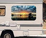 3D Autoaufkleber bewölkter Sonnenuntergang Meer Wohnmobil Auto KFZ Fenster Motorhaube Sticker Aufkleber 21A606, Größe 3D sticker:ca. 96x58cm