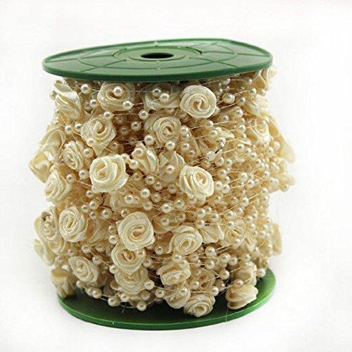 sen Perlenband Perlenkette Perlengirlande Perlenschnur Hochzeit Schmuckband Deko Perlen Tischdeko Elfenbein ()