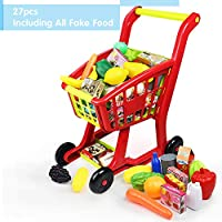 Nuheby Kids Trolley Toy Shopping Trolleys Children Shopping Cart Supermarket Trolley with 27pcs Toy Fruit&Toy Vegetables Pretend Play Toy for Boys Girls 3 4 5 Years Old