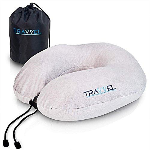 Reise Nackenkissen Set: Reisekissen Memory Foam inkl. Schlafmaske, Ohrstöpsel und Tasche von TRAVVEL®️ | Nackenhörnchen
