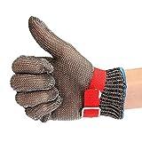 MASUNN Sicurezza Taglio Proof Resistente Acciaio Inossidabile Metallo Maglia Macellaio Guanto Taglia M