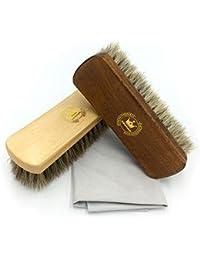 CaaCoo Kit de brosse de chaussures, comprenant: Cepillo para dar lustre de 100% Pelo de crin X2, Tissu à polir en daim X1