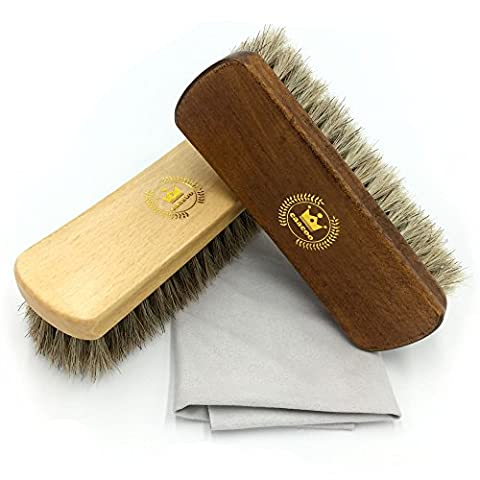 CaaCoo Shoe Brush Horsehair Brush Cleaning Care Package, Shine Brush