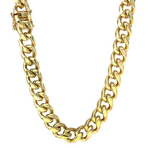 11mm Miami Cuban Link Box Verschluss Gold Ton Halskette 91,4cm ()