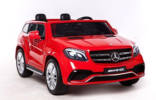 Mondial Toys Elektronisches Auto für Kinder 2 Polster Super SUV 2x Batterien 12V 4x Motorrad Mercedes-Benz GLS63 AMG 4x4 AWD mit Sitz aus Leder Räder aus Gummi schwarze Fernbedienung (Kinder Elektronische Auto)