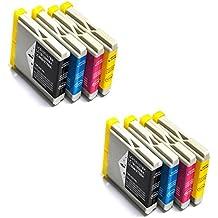 Prestige Cartridge LC1000 LC970 Cartucce d'Inchiostro Compatibile per Stampanti Brother MFC/DCP/FAX Serie, 8 Pezzi, Nero/Ciano/Magenta/Giallo