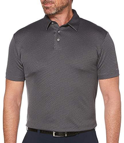 PGA TOUR Herren Tonal Mini Jacquard Short Sleeve Polo Golf-T-Shirt, Caviar, Mittel