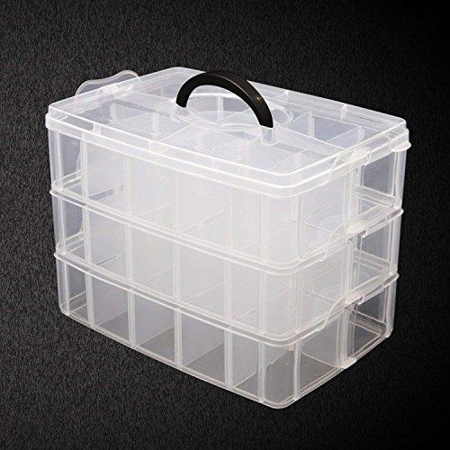 Caja Almacenamiento 3 Niveles Plástico Transparente por Kurtzy - Para Guardar y Organizar Hilos de Coser Cuentas Artículos de Belleza Esmaltes Joyas Artes y Accesorios Manualidades- 30 Compartimentos