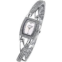 Einzigartig Mode Strass Band Rechteckig Zifferblatts Armband Uhr Damen Quarzuhr, Silber