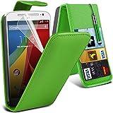 ONX3 Motorola Moto G 2nd Generation Green PU-Leder-Schlag Mit 3 Kredit / Bankkarte Slot-Kasten-Haut-Abdeckung mit LCD-Display Schutzfolie, Reinigungstuch und Mini-versenkbaren Stylus Pen
