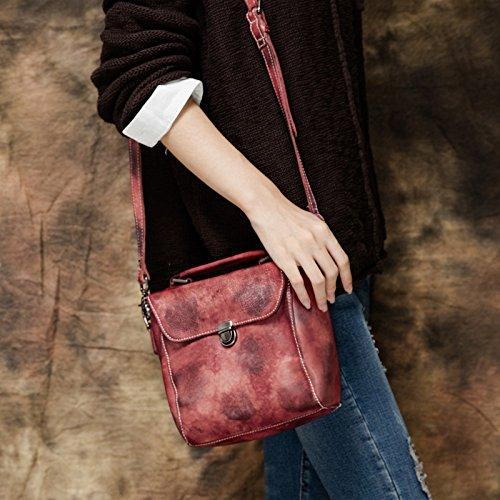 Vintage Sacs bandoulière épaule unique de loisirs la première couche cuir fait main original art girl Apricot