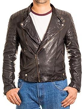 Mens Negro Side Vintage Classic Zip acolchado Brando sin cuello de la chaqueta de cuero del motorista