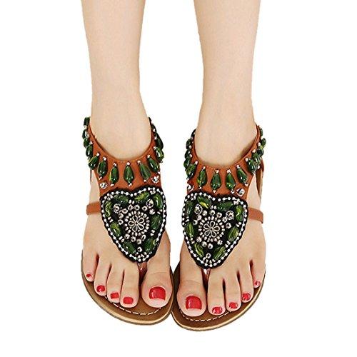 Vertvie Damen Boho Sommer Schuhe Strandschuhe Offene T-Spangen Sandalen Knöchelriemchen Sandalen Pantoletten mit Strass Braun