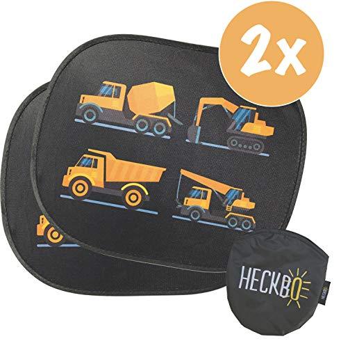 HECKBO® Selbsthaftende Auto Sonnenblende - Sonnenschutz für Kinder (2 Stück) | für Seitenfenster & Heckscheibe | Motiv: Baufahrzeuge | inkl. gratis Tasche