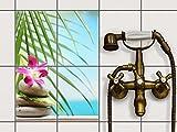 creatisto Bad-Folie, Küchenfliesen | Fliesensticker Aufkleber Folie Bad Küche ergänzend zu Kühlschrankmagnet Baddeko | 15x20 cm Design Motiv Lotus Flower - 4 Stück